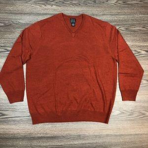 Jos A Bank Rust Merino V-Neck Sweater XL